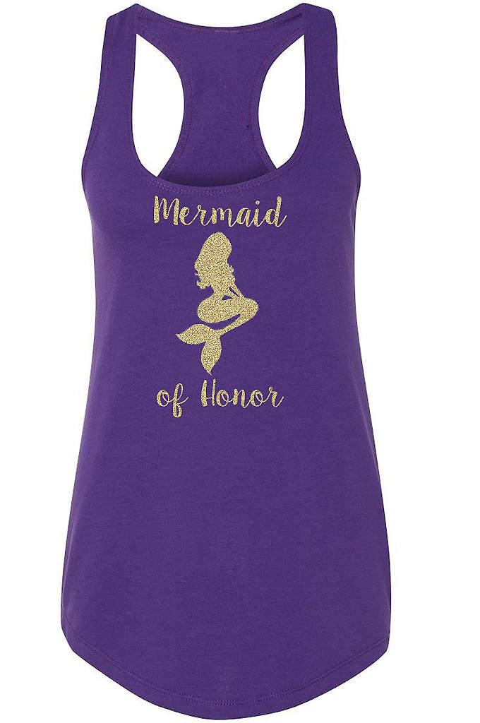 Mermaid of Honor Gold Glitter Racerback Tank Top - Have oceans of fun in our beautiful mermaid