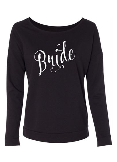 Fanciful Script Bride French Terry Scoop Neck - Wedding Gifts & Decorations