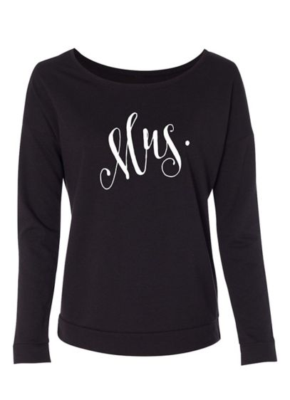 Fanciful Script Mrs French Terry Scoop Neck - Wedding Gifts & Decorations