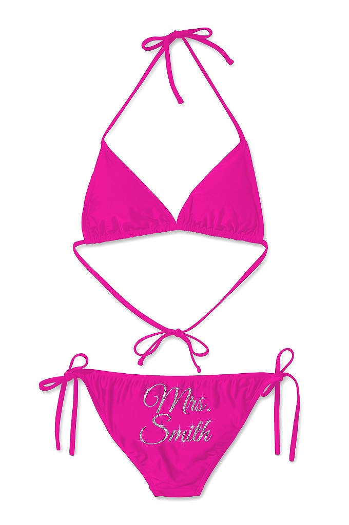 Personalized Glitter Print Mrs Bikini - Sparkle and shine on your honeymoon in this