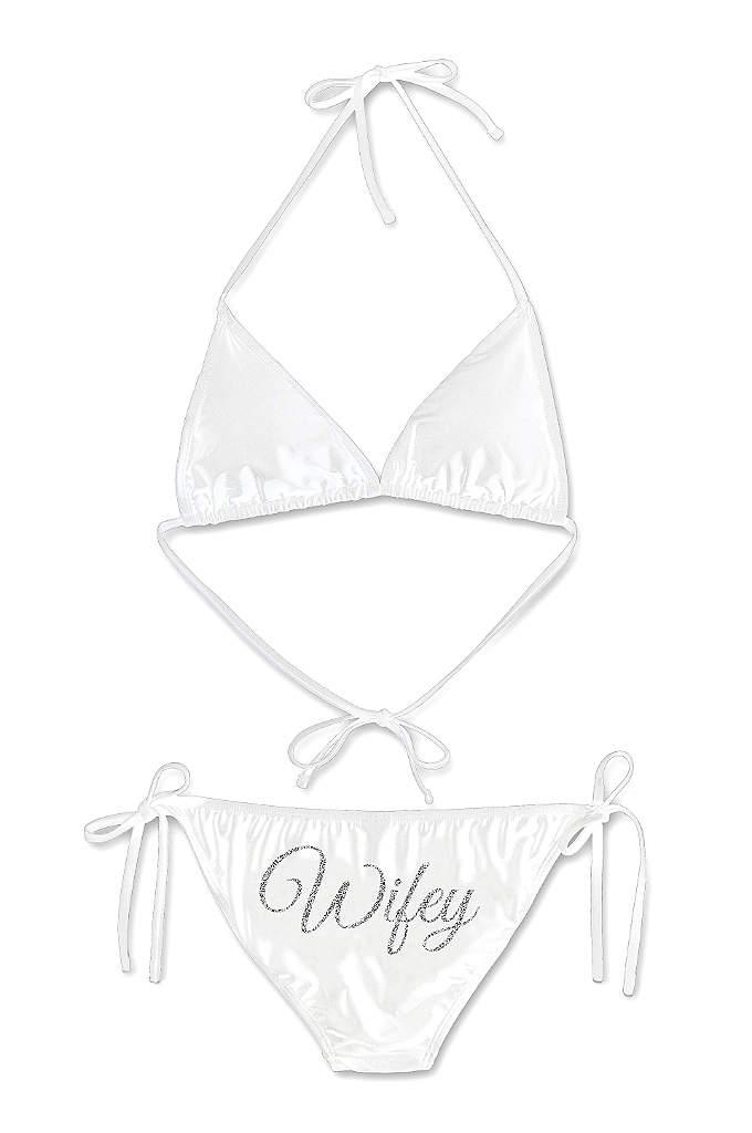 Glitter Print Wifey Bikini - Sparkle and shine on your honeymoon in this