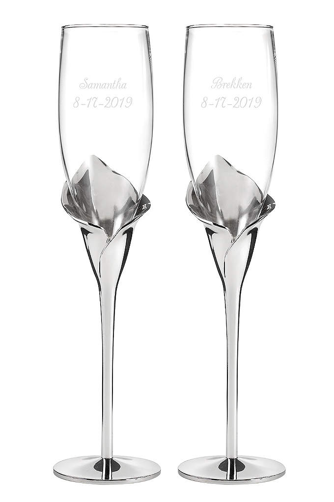 Personalized Gleaming Calla Lily Flutes - With silver-tone stems sculpted into calla lilies, these