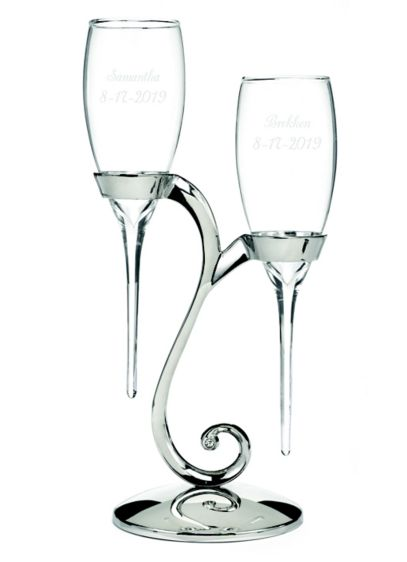 Personalized Elegant Raindrop Toasting Flutes - Make your wedding toast extra-special with this elegant