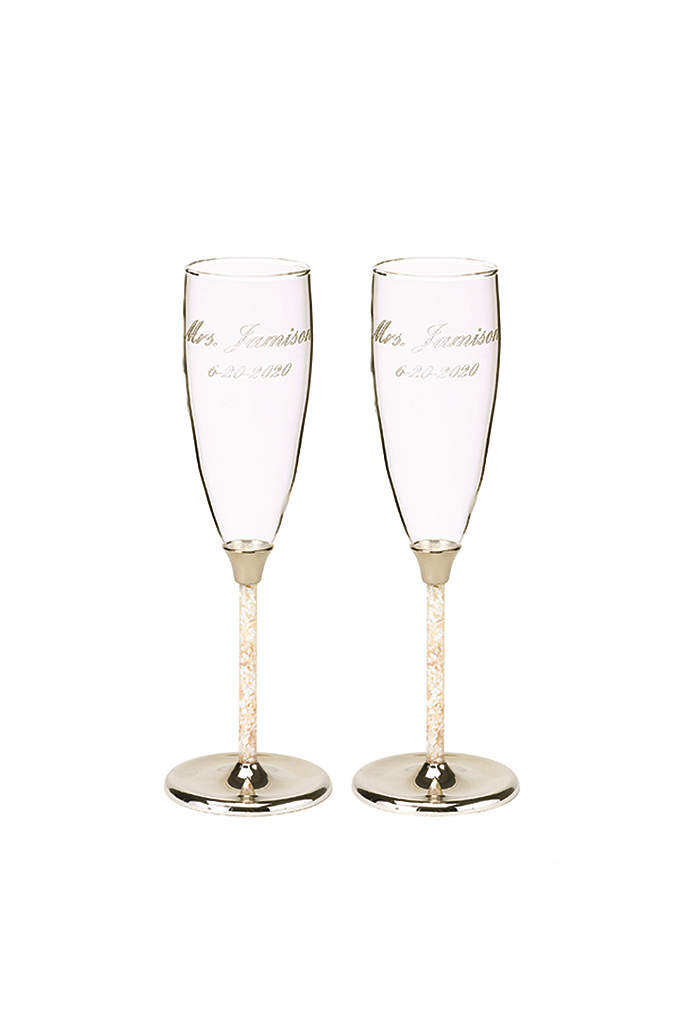 Personalized Mother of Pearl Flutes - The ideal toasting flutes for a destination or