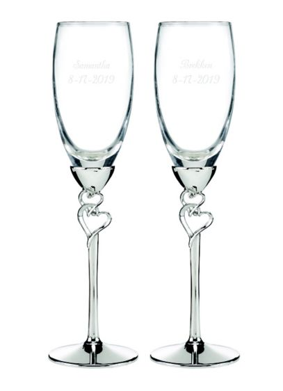 Personalized Entwined Hearts Flutes - Wedding Gifts & Decorations