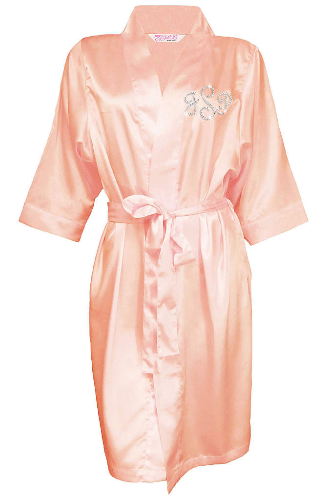 Personalized Rhinestone Monogram Satin Robe - Create a unforgettable photo op by dressing your