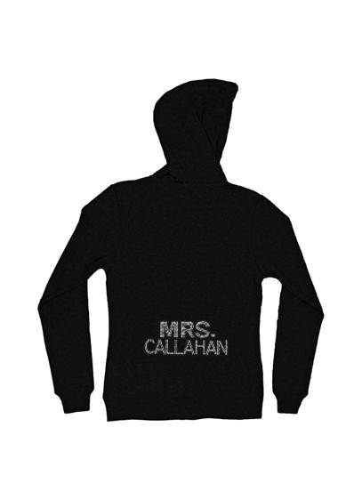 Personalized Multi-Row Rhinestone Mrs. Hoodie - Stunning new Mrs. hoodie/sweatshirt personalized in a big
