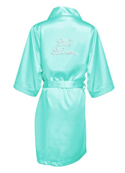 Green (Personalized Rhinestone Mrs. Satin Robe)