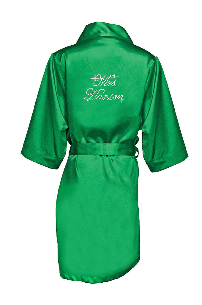 Personalized Rhinestone Mrs. Satin Robe - Luxurious satin robe personalized with