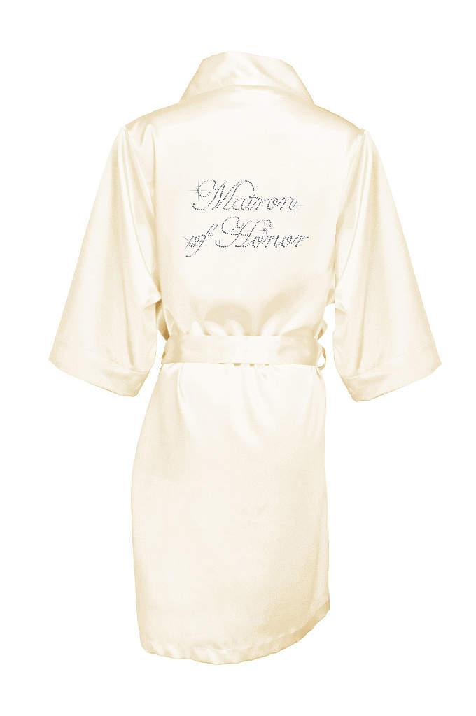 Rhinestone Matron of Honor Satin Robe - Luxurious satin robe with
