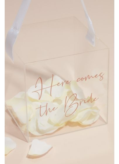 Acrylic Here Comes The Bride Basket with Ribbon - Ultra-modern yet romantic, this flower girl basket prominently