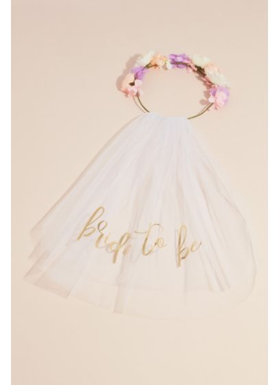 Bride to Be Faux Flower Crown with Veil - The boho bride will love wearing this faux