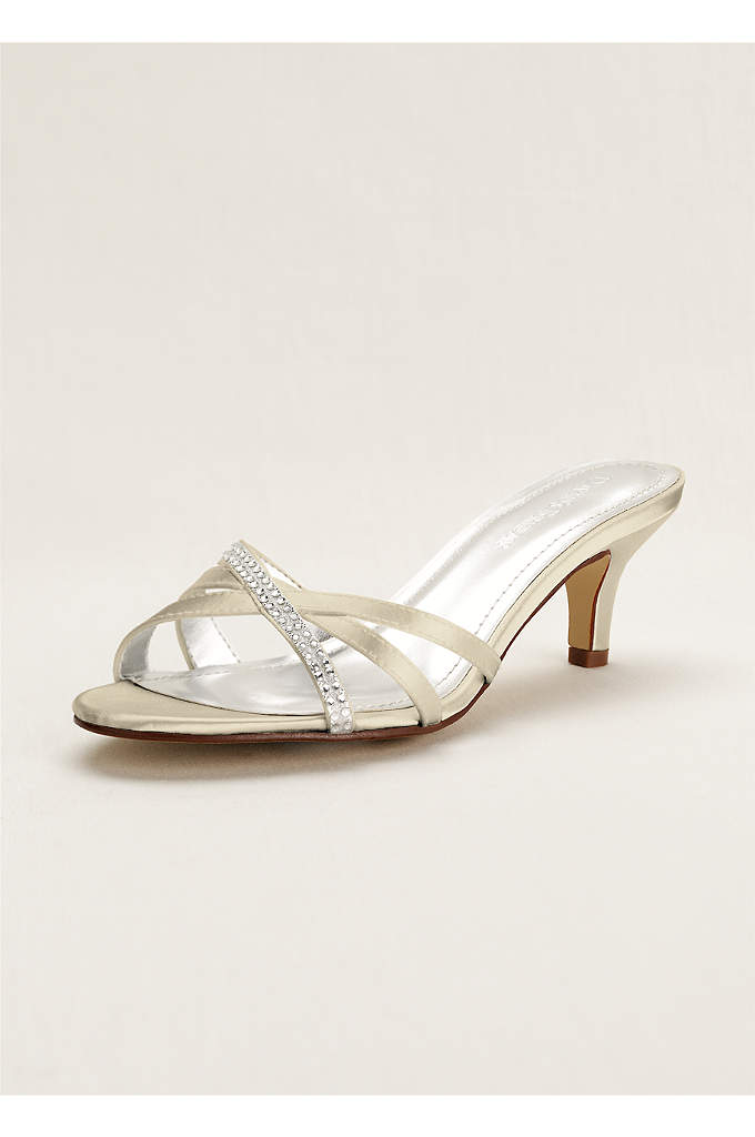 Crystal Embellished Dyeable Low Heel Sandal - Add a pop of sparkle to any ensemble