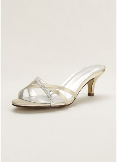 David's Bridal Ivory (Crystal Embellished Dyeable Low Heel Sandal)