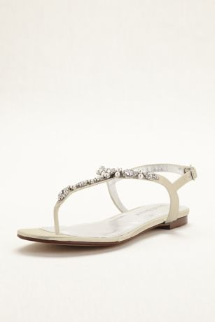 Dyeable Pearl and Crystal Encrusted T-Strap Sandal | David's Bridal | Tuggl