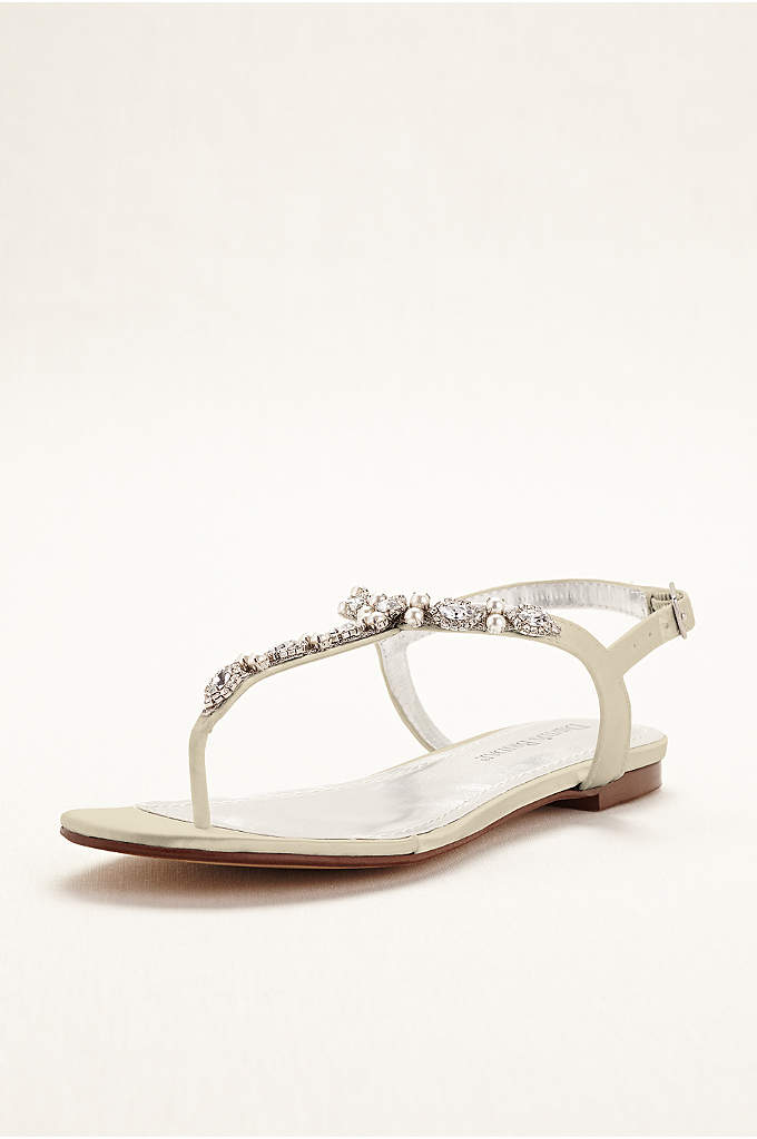 Dyeable Pearl and Crystal Encrusted T-Strap Sandal - Pearl and crystal embellishment makes this t-strap sandal