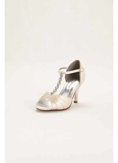 Dyeable Satin Mid Heel Crystal T Strap Sandal - Add some shine and style to your outfit