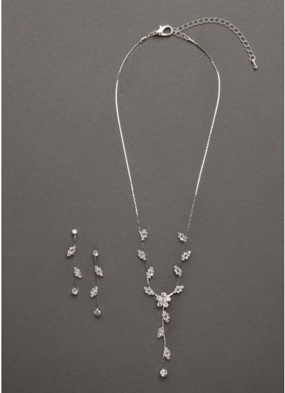 Floral Scroll Design Necklace and Earring Set - Wedding Accessories