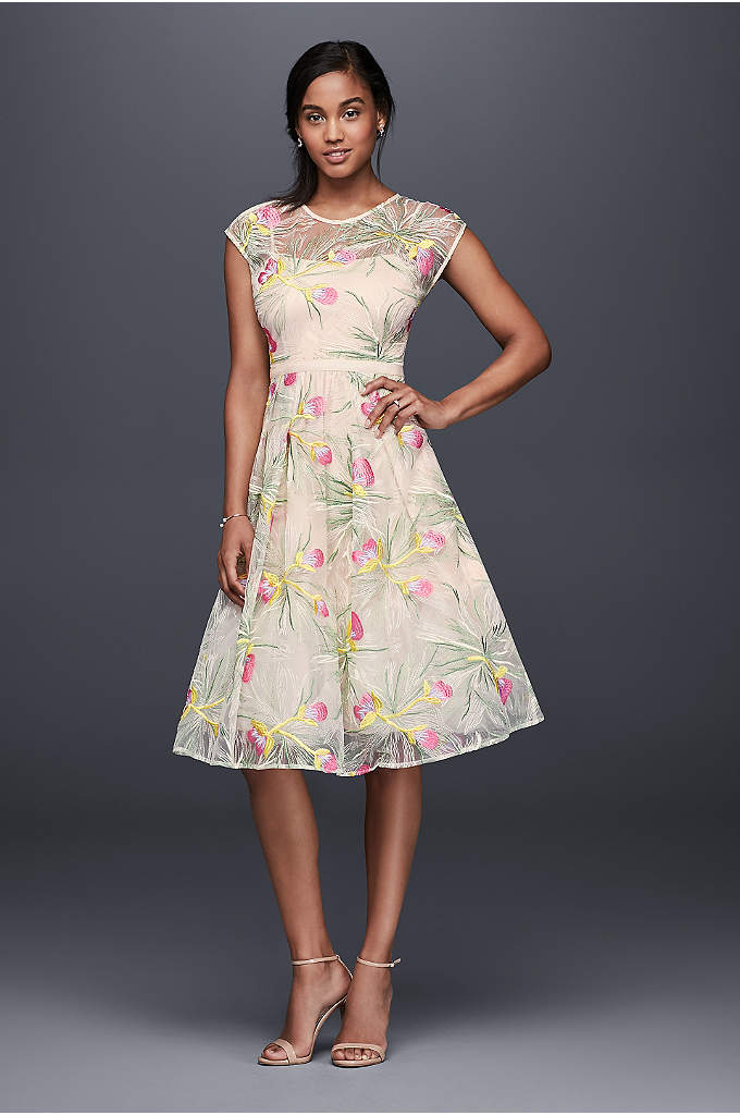 Embroidered Organza Fit-and-Flare Midi Dress - What could be more fun than this colorfully