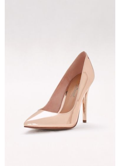Anne Michelle Pink (Mirror Metallic Pointed-Toe Pumps)