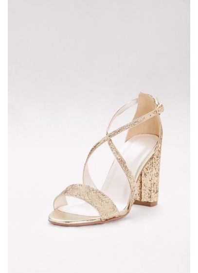 David's Bridal Grey (Crisscross Strap Block Heel Glitter Sandals)