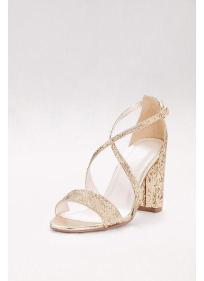 Crisscross Strap Block Heel Glitter Sandals David S Bridal