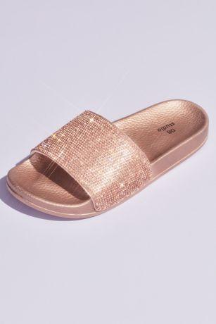 a39b7845dc13 David s Bridal Grey Pink Flat Sandals (Metallic Crystal Slide Sandals with  Footbed)