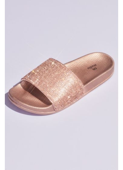Metallic Crystal Slide Sandals with Footbed - Shimmer and shine in these metallic footbed slide