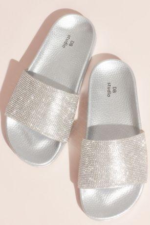 David's Bridal Grey;Pink Flat Sandals (Metallic Crystal Slide Sandals with Footbed)