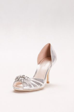 "David's Bridal Grey Peep Toe Shoes (Metallic D""Orsay Peep-Toe Heels)"