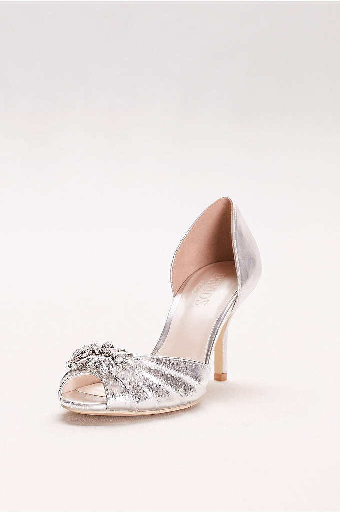 Metallic D'Orsay Peep-Toe Heels - This high-shine pair is a glam finish to