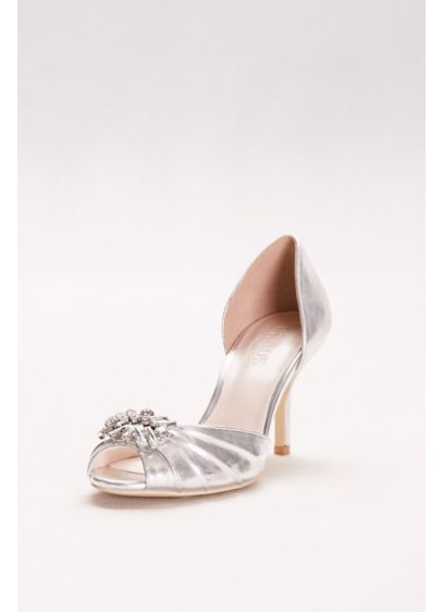 David's Bridal Grey (Metallic D'Orsay Peep-Toe Heels)