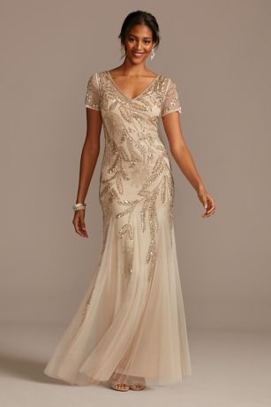 Long Mermaid/ Trumpet Cap Sleeves Dress - David's Bridal
