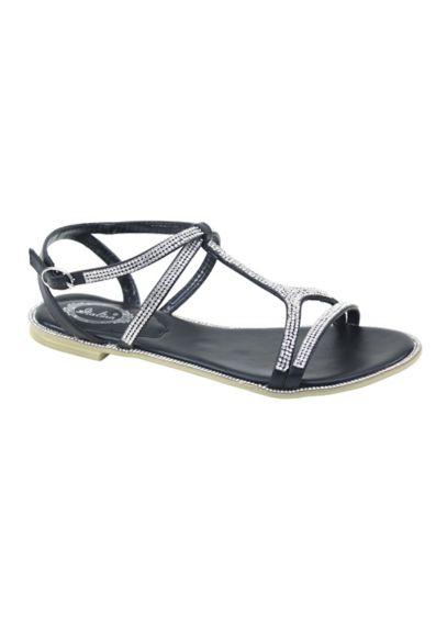 Italina White (Strappy Crystal T Strap Sandal)
