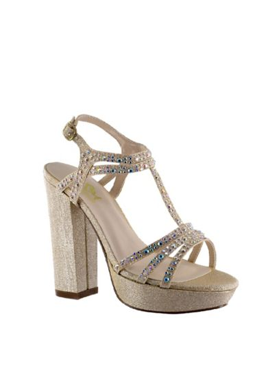Benjamin Walk Grey (Platform Block Heel Sandals with Crystal T-Strap)