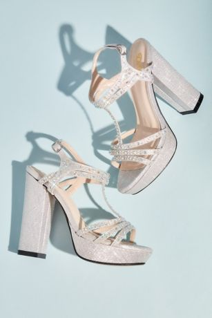 Benjamin Walk Grey;Ivory Heeled Sandals (Platform Block Heel Sandals with Crystal T-Strap)
