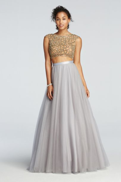 Two Piece Beaded Prom Crop Top With Tulle Skirt David S