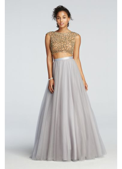 48bf4ddc1 Two Piece Beaded Prom Crop Top with Tulle Skirt | David's Bridal