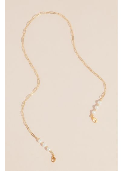Pearl Trimmed Long Link Face Mask Chain - Wedding Accessories