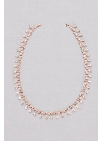 Natasha Pink (Cubic Zirconia Pear Fringe Collar Necklace)
