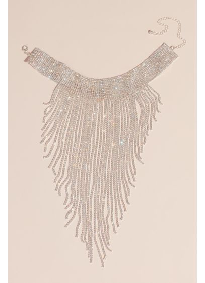 Allover AB Crystal Choker with Plunging Fringe - Amp up the drama in this eye-catching choker