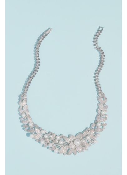 Crystal Floral Necklace with Pearl Embellishments - This glamorous, opulent necklace features clusters of blooming