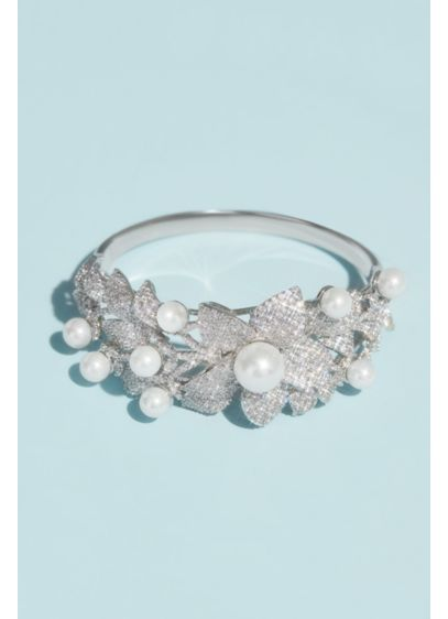 Crystal Floral Bracelet with Pearl Embellishments - This glamorous, opulent bangle features clusters of flowers