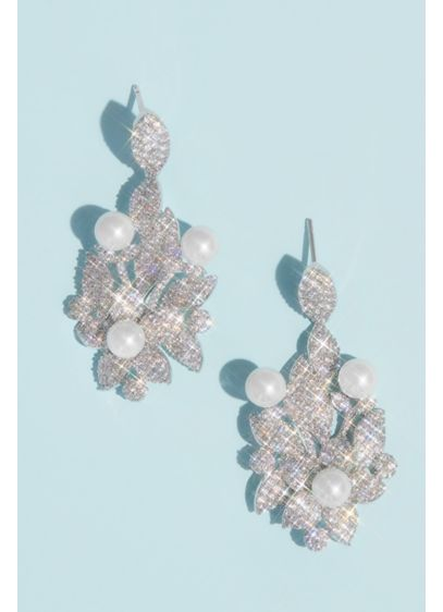 Crystal Floral Earrings with Pearl Embellishments - This glamorous, opulent drop earrings feature clusters of
