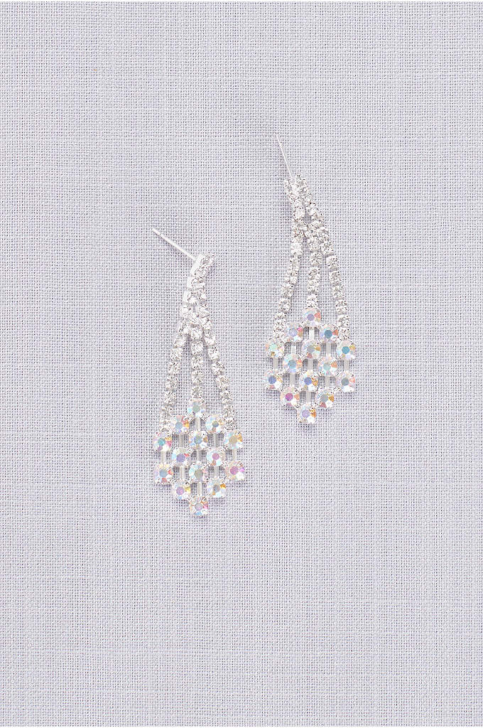 Iridescent Geometric Crystal Earrings - Geometric crystal clusters dangle from these post earrings,