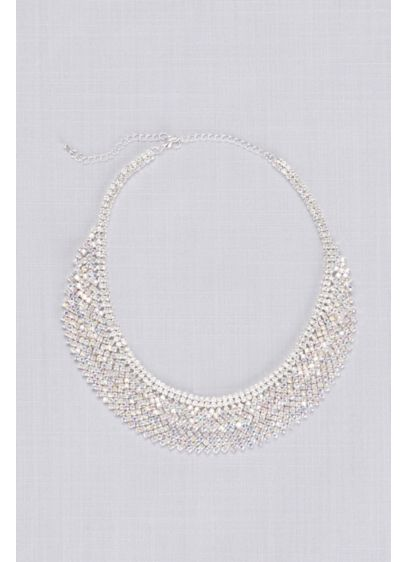 Layered Crystal Bib Necklace - Featuring two layers of geometric crystals, this bib