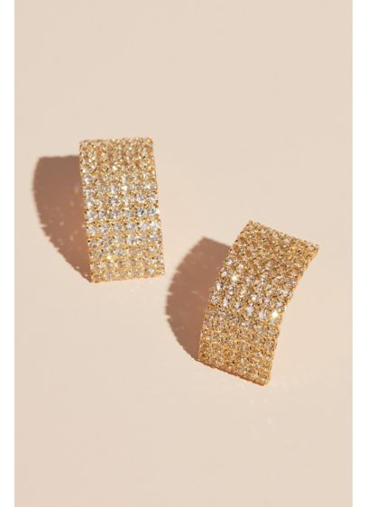 Grey (Stacked Crystal Cuff Stud Earrings)