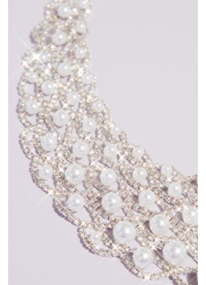 Graduated Pearl and Woven Crystal Collar Necklace - A beautiful net of sparkling crystals catches a