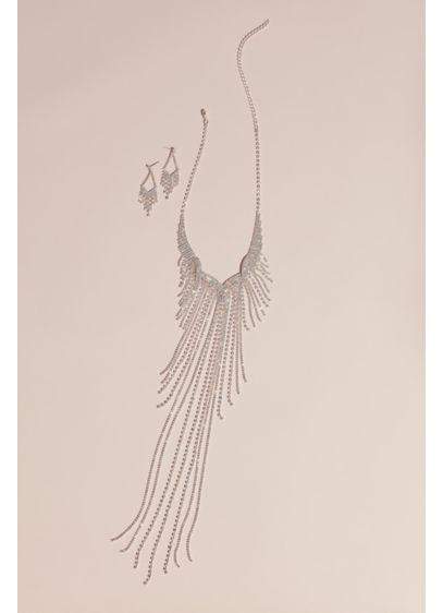 Crystal Fringe Necklace and Pendant Earrings Set - Wedding Accessories