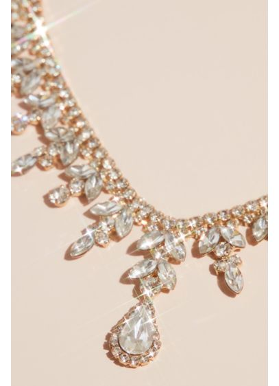 Leafy Teardrop Crystal Statement Necklace - Wedding Accessories